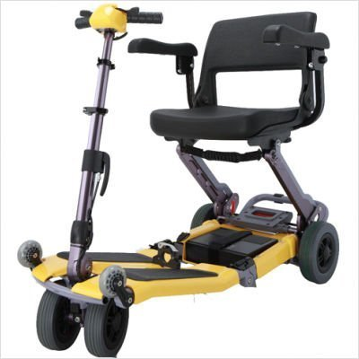 Luggie Travel Scooter With Case in Yellow, Comes with Free Armrests